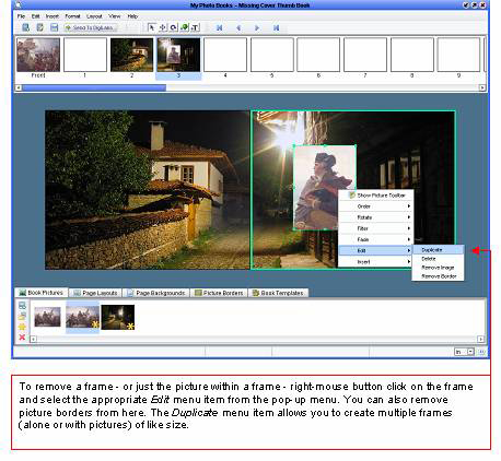 Photo Books software - Removing Frames
